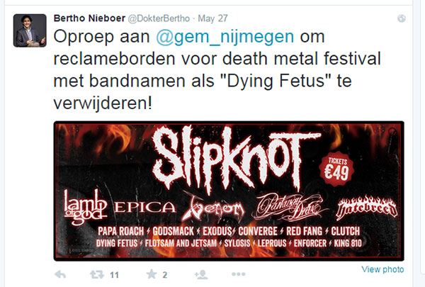 Dutch gynecologist doesn't enjoy seeing the name Dying Fetus on posters