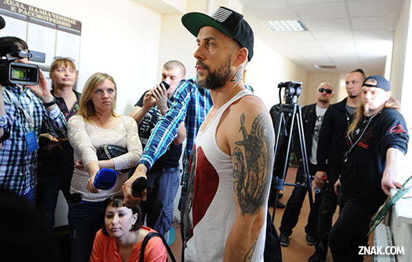 Nergal after being detained for improper visas in Russia