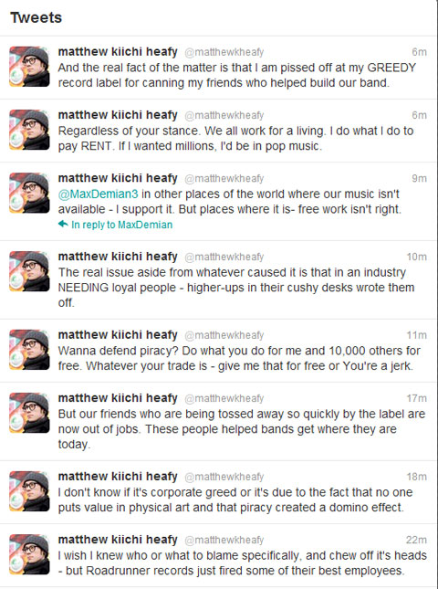Matt Heafy on Roadrunner closures