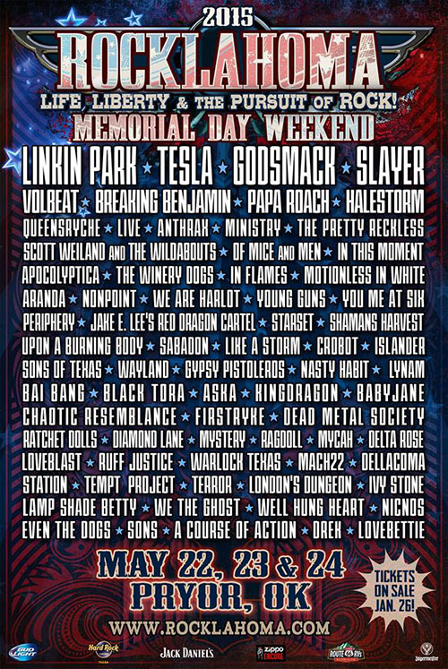 Rocklahoma 2015 flyer with lineup